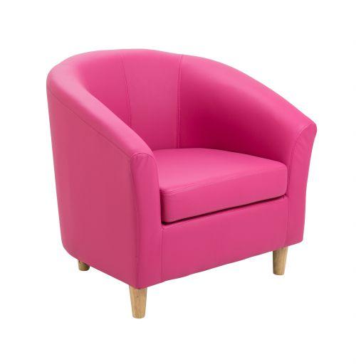 Tub Armchair PU Pink Wooden Feet