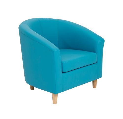 Tub Armchair PU Sky Blue Wooden Feet