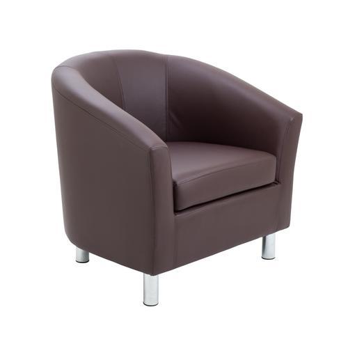 Junior Tub Chair Brown Metal Leg