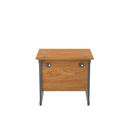 800x600 Single Upright Rectangular Desk Nova Oak Silver
