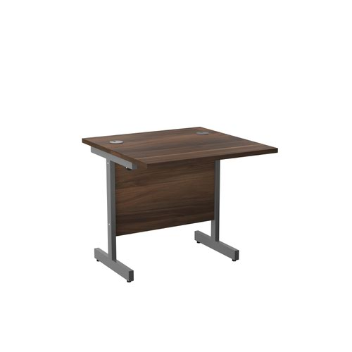 800x800 Single Upright Rectangular Desk Dark Walnut Silver