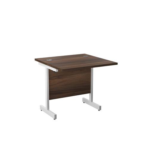 800X800 Single Upright Rectangular Desk Dark Walnut-White