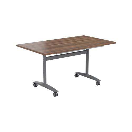 One Tilting Table 1200 X 800 Silver Legs Dark Walnut Top