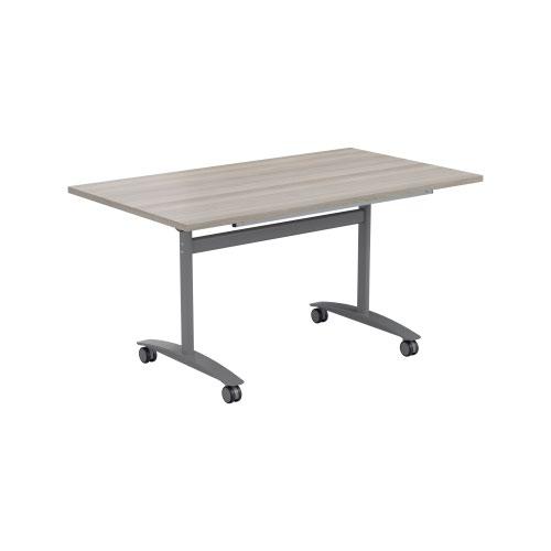 One Tilting Table 1200 X 700 Silver Legs Grey Oak Top