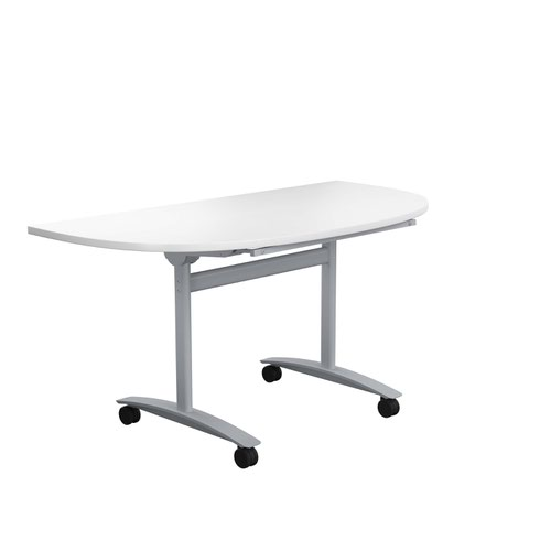 One Tilting Table 1400 X 700 Silver Legs White D-End Top