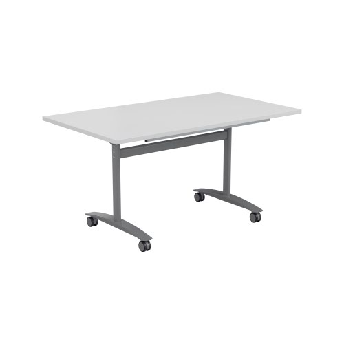 One Tilting Table 1400 X 700 Silver Legs White Top
