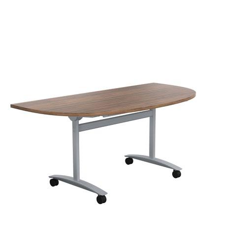 One Tilting Table 1600 X 800 Silver Legs Dark Walnut D-End Top