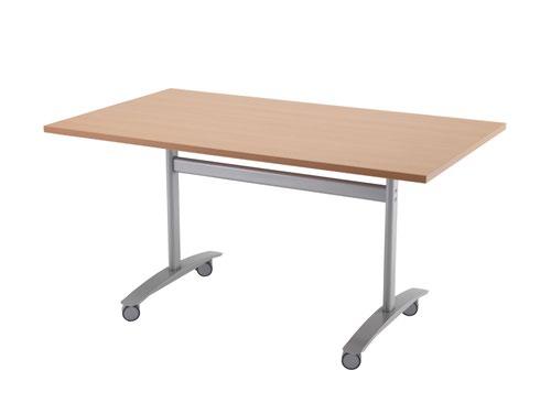 One Tilting Table 1600 X 700 Silver Legs Beech Top
