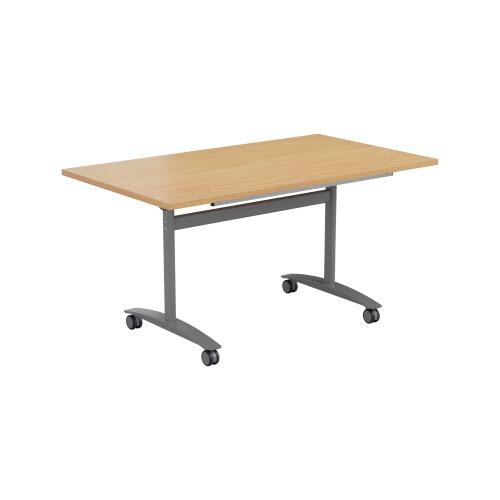One Tilting Table 1600 X 800 Silver Legs Nova Oak Top