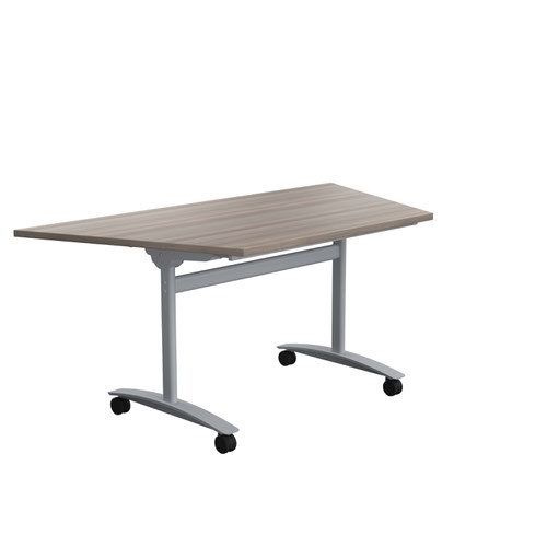 One Tilting Table 1600 X 800 Silver Legs Grey Oak Trapezoidal Top