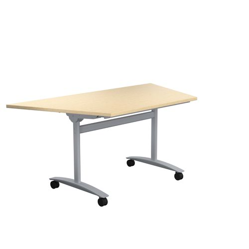 One Tilting Table 1600 X 800 Silver Legs Maple Trapezoidal Top