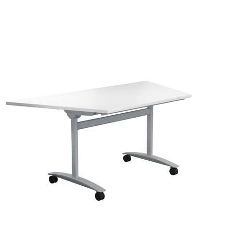 One Tilting Table 1600 X 800 Silver Legs White Trapezoidal Top