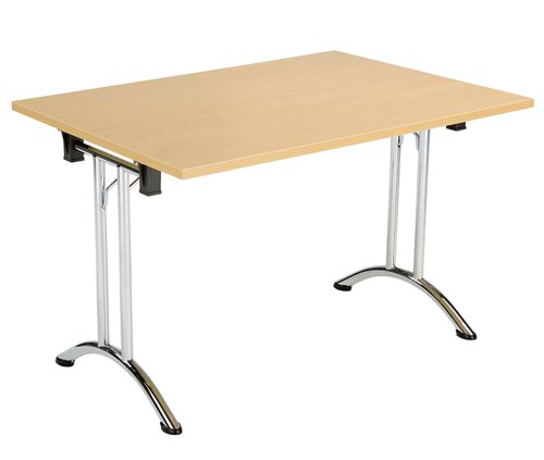 One Union Folding Table 1200 X 700 Chrome Frame Nova Oak Rectangular Top