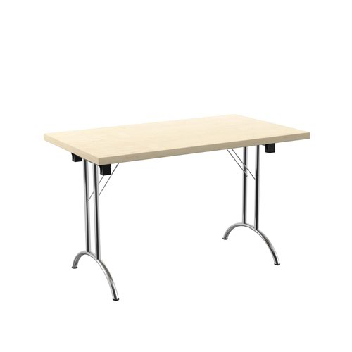 One Union Folding Table 1200 X 700 Chrome Frame Maple Rectangular Top