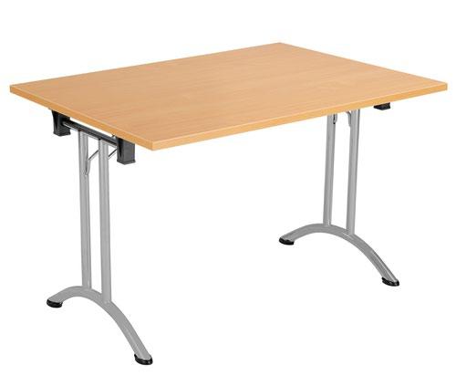 One Union Folding Table 1200 X 800 Silver Frame Beech Rectangular Top