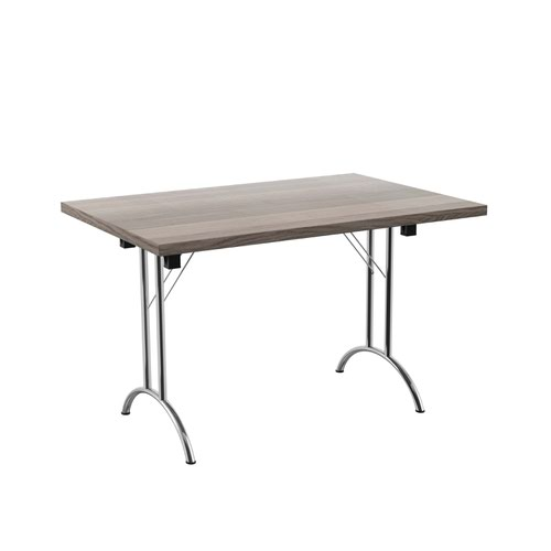 One Union Folding Table 1200 X 800 Silver Frame Grey Oak Rectangular Top