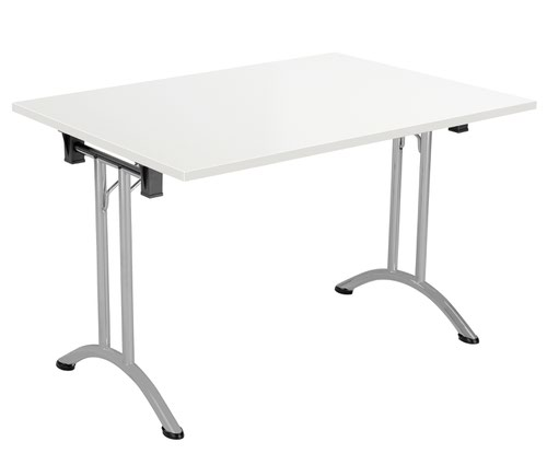 One Union Folding Table 1200 X 800 Silver Frame White Rectangular Top