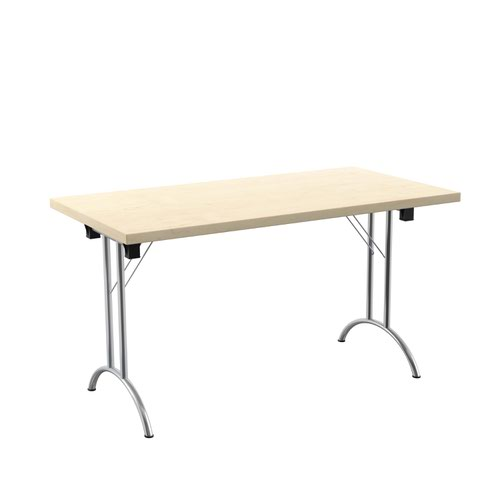 One Union Folding Table 1400 X 700 Chrome Frame Maple Rectangular Top