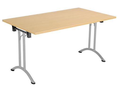 One Union Folding Table 1400 X 700 Silver Frame Nova Oak Rectangular Top