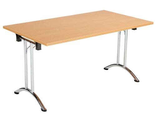 One Union Folding Table 1400 X 800 Chrome Frame Beech Rectangular Top