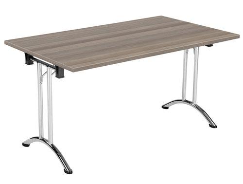 One Union Folding Table 1400 X 800 Chrome Frame Grey Oak Rectangular Top