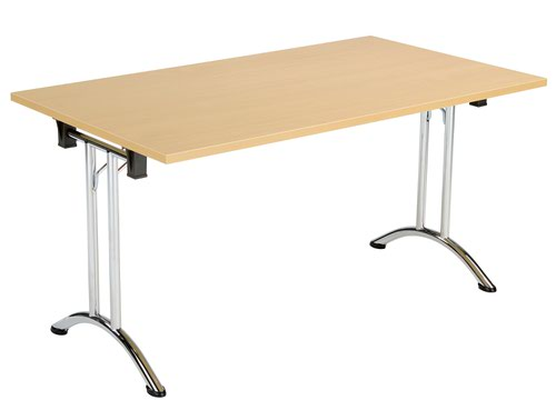 One Union Folding Table 1400 X 800 Chrome Frame Nova Oak Rectangular Top