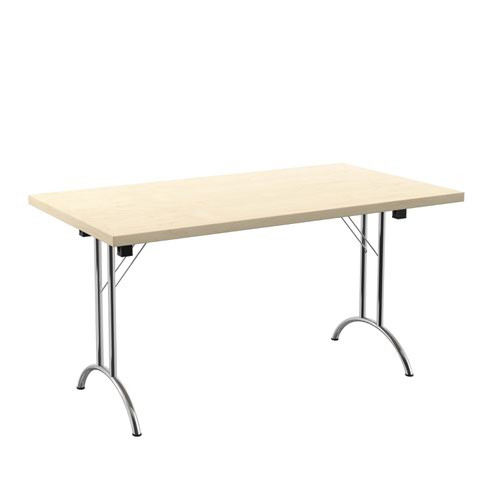 One Union Folding Table 1400 X 800 Silver Frame Maple Rectangular Top