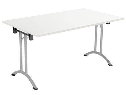 One Union Folding Table 1400 X 800 Silver Frame White Rectangular Top