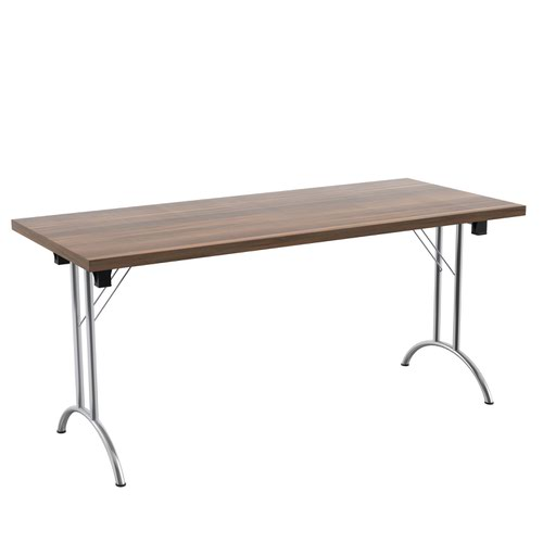 One Union Folding Table 1600 X 700 Chrome Frame Dark Walnut Rectangular Top