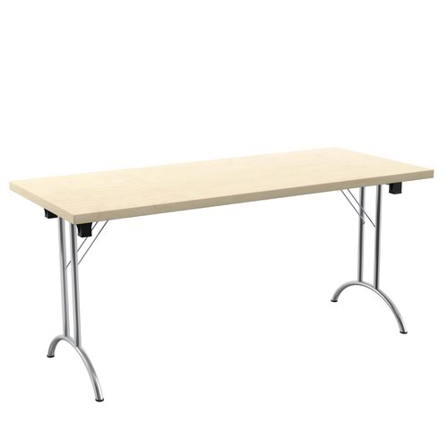 One Union Folding Table 1600 X 700 Chrome Frame Maple Rectangular Top