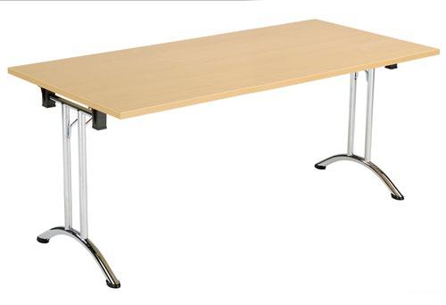 One Union Folding Table 1600 X 700 Chrome Frame Nova Oak Rectangular Top