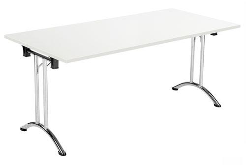 One Union Folding Table 1600 X 700 Chrome Frame White Rectangular Top