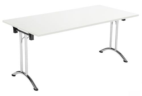 One Union Folding Table 1600 X 800 Chrome Frame White Rectangular Top