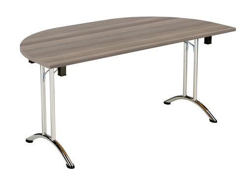 One Union Folding Table 1600 X 800 Chrome Frame Grey Oak D-End Top