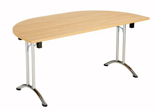 One Union Folding Table 1600 X 800 Chrome Frame Nova Oak D-End Top