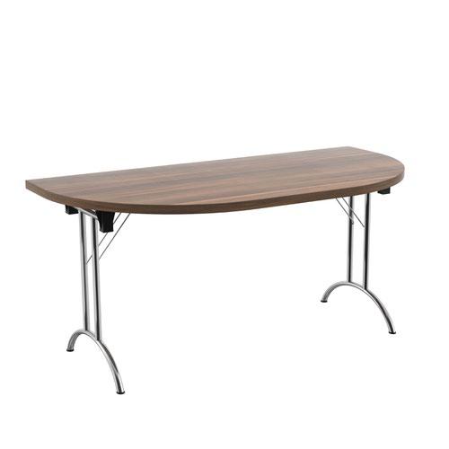 One Union Folding Table 1600 X 800 Silver Frame Dark Walnut D-End Top