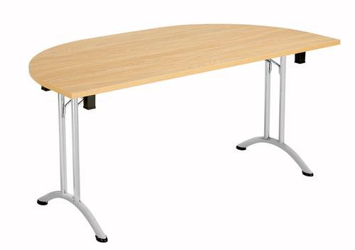One Union Folding Table 1600 X 800 Silver Frame Nova Oak D-End Top