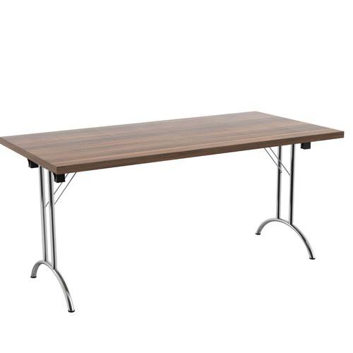 One Union Folding Table 1600 X 800 Silver Frame Dark Walnut Rectangular Top