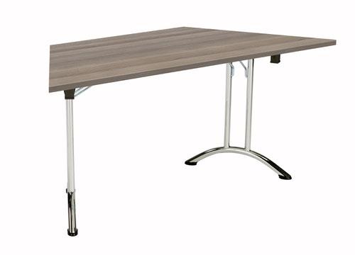 One Union Folding Table 1600 X 800 Chrome Frame Grey Oak Trapezoidal Top