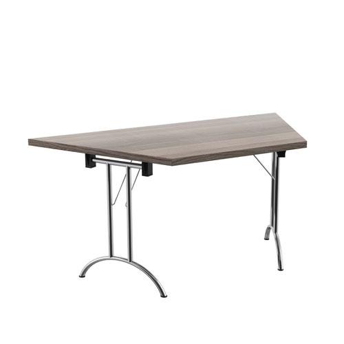One Union Folding Table 1600 X 800 Silver Frame Grey Oak Trapezoidal Top