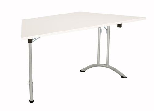 One Union Folding Table 1600 X 800 Silver Frame White Trapezoidal Top