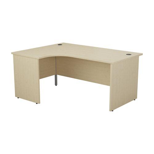 1800X1200 Panel Left Hand Radial Desk Beech + Desk High 3 Drawer Ped