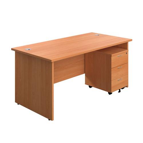 1800X800 Panel Rectangular Desk Beech + 3 Drawer Ped