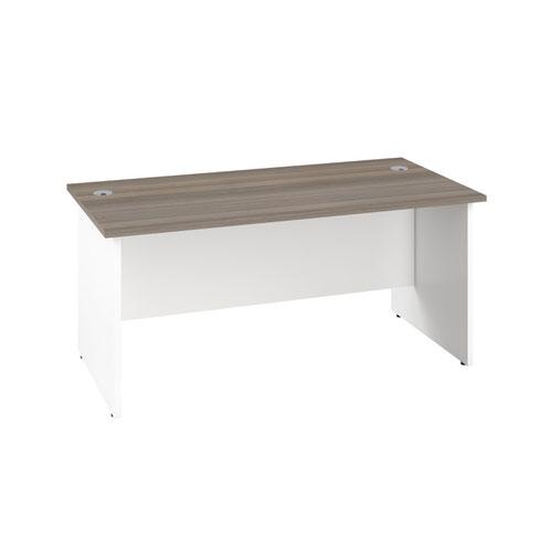 1400X600 Panel Rectangular Desk Grey Oak / White