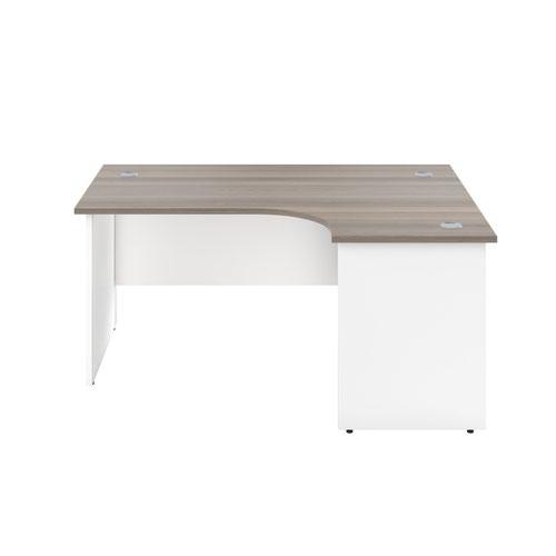 1600X1200 Panel Right Hand Radial Desk Grey Oak / White