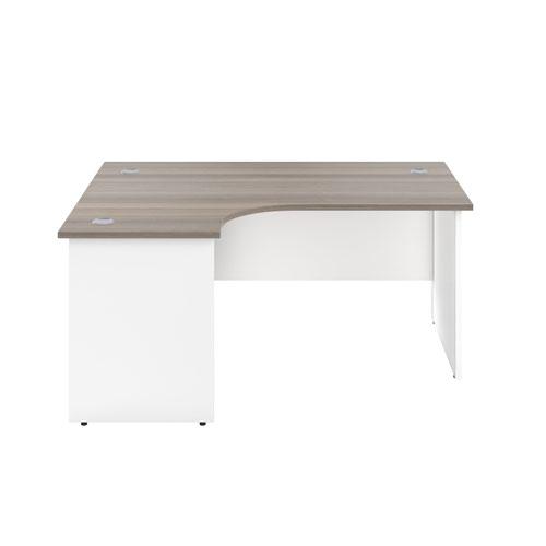 1800X1200 Panel Left Hand Radial Desk Grey Oak / White