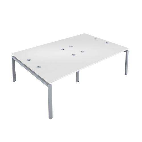 Premium 4 Person Bench 1200 X 800 Cable Port White-Silver