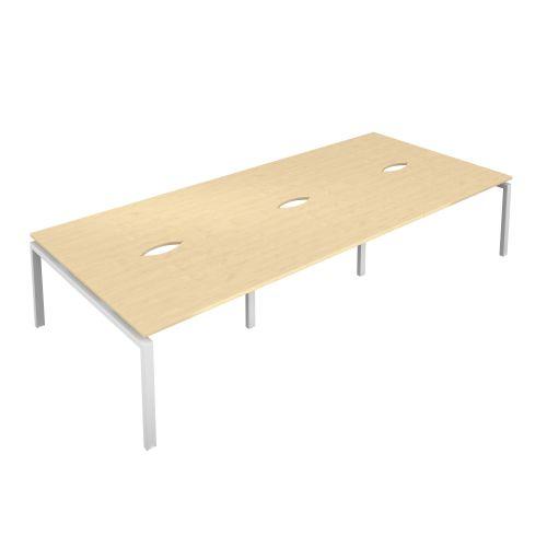 Premium 6 Person Bench 1400 X 800 Cut Out Maple-White