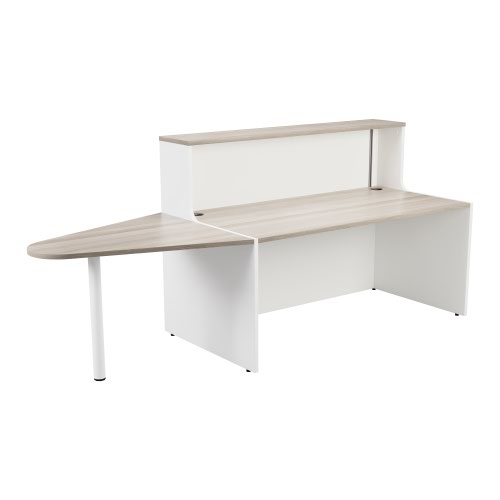 Reception Unit 1400 With Extension - White Sides With Grey Oak Top