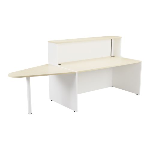 Reception Unit 1400 With Extension - White Sides With Maple Top